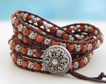 Shimmering Goldstone... Leather wrap bracelet....  - you don't believe how great it looks. OceanBead Style.