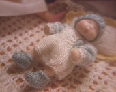 """1"""" scale miniature knitting pattern PDF for 1.75"""" baby boy doll"""