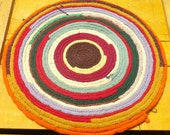 Penny Rug, Folk Art Rug, Round Rug, Round Mat, Americana Table Topper Placemat, Penny Matt Chair Pad, Primitive Rustic Colorful BohoBohemian