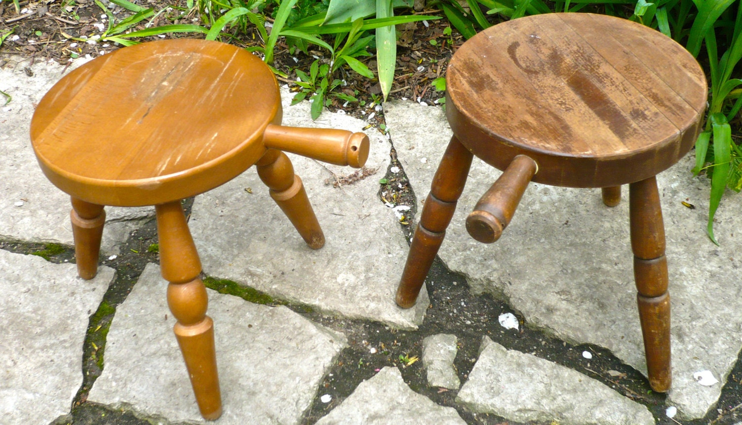 Vintage Milking Stool Three Legged Stool Spinning Stool Wood
