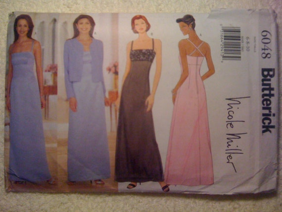 Butterick Sewing Pattern 6048 90s Nicole Miller Misses/Misses Petite Jacket and Dress Size 6-8-10 Sale