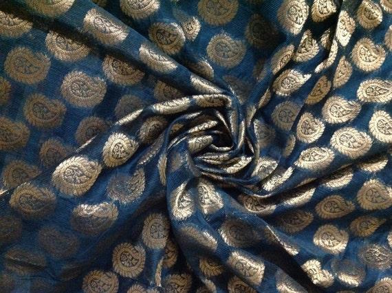 1 5 Yards Chanderi Fabric Indian Fabric Silk Fabric Teal