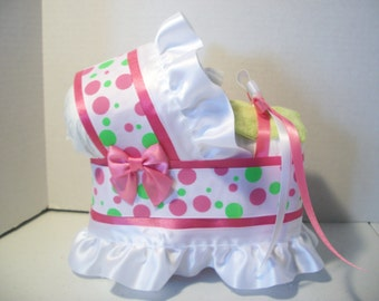 Lime green pink polka dot girl diaper bassinet baby shower gift table decoration centerpiece