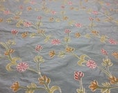 Powder BLUE hand painted embroidered silk shantung fabric by the yard