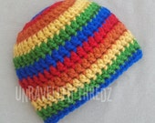 Rainbow Newborn Hat, Rainbow Baby Hat, Crochet Baby Rainbow