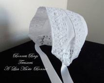 Handkerchief Baby Bonnet Christening Bonnet or New Arrival Hospital Bonnet Venice Bridal Lace 0-3 months