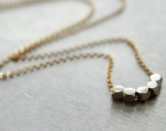 Silver Nugget Necklace - Gold and Silver, 14k Gold Filled Chain Sterling Silver Nuggets, Simple Everyday, Mixed Metal, Gift for Her Under 50