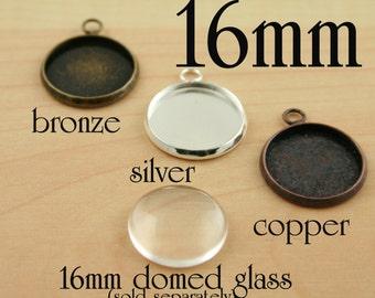 12 16mm Bezel -  Silver Earring Trays, Charm Drops - Blank earring, charms, bracelets, pendants - Ships from USA. Glass is optional.