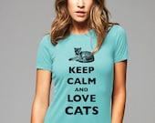 Keep Calm and Love Cats T-Shirt - Soft Cotton T Shirts for Women, Men/Unisex, Kids