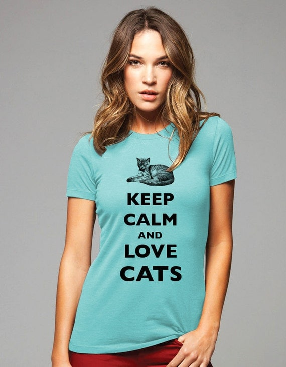 Keep Calm and Love Cats T-Shirt - Soft Cotton T Shirts for Women, Men/Unisex, Kids