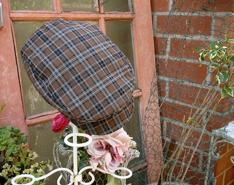 Brown plaid oval golfers beret, newsboy hat for little boys, newsboy hats, pageboy hats