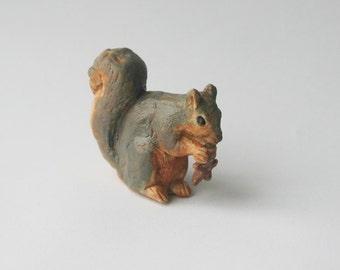 Teeny Fox Squirrel Nibbling Gingerbread Man Cookie, Ceramic Miniature Terrarium Ornament