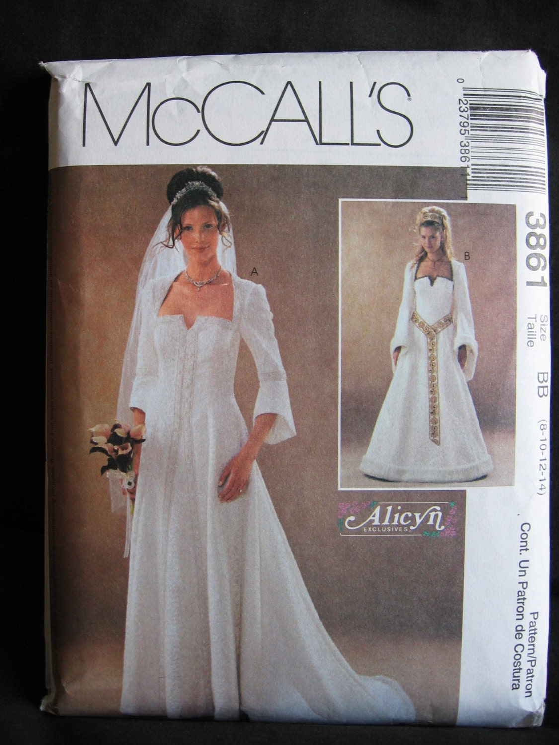 Mccalls 3861 alicyn bridal wedding gown pattern uncut by for Mccall wedding dress patterns
