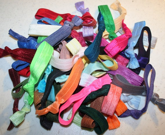 50 Elastic Hair Ties - Colorful Assortment - Grab Bag - Anthropologie Emi-Jay Inspired - Fold Over Elastic - SPEEDY SHIPPING