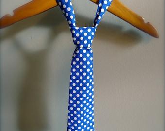 Baby Boy Tie - Little Boy Blue Polka Dots
