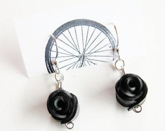Black Rose Earrings - Recycled Jewelry - handmade - bike - innertubes
