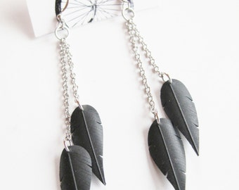 Chain Feather Earrings - Recycled Jewelry - eco friendly gift - handmade -  bicycle - bike - innertube