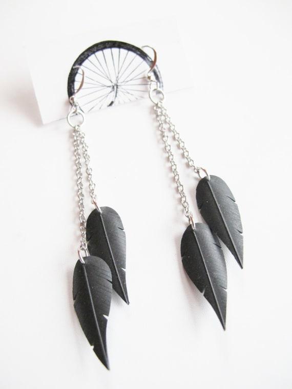 Chain Feather Earrings - Recycled Jewelry - eco friendly gift - handmade -  bicycle - bike - innertube
