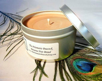 Banana Nut Bread Scented Soy Candle 8 oz Silver Travel Tin