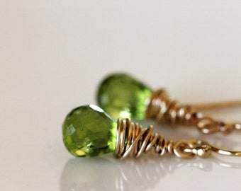 Peridot Drop Earrings Gold Wire Wrapped | August Birthstone | Matching Jewelry | Birthday Jewelry | Handmade jewelry Girlthree