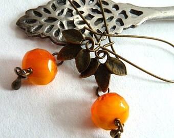 Earrings, Orange Glass and Antique Bronze Leaf Earrings, Orange Swirl Glass Dangle Earrings, Rustic Orange Earrings, Boho Antique Bronze