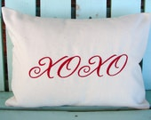 """Sale Valentines pillow 12"""" X 16"""" red,natural embroidered XOXO pillow-decorative pillow cover-gifts under 25-throw pillow-accent pillow"""