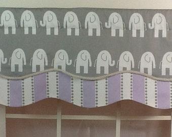 Elephant layered shaped valance with trim