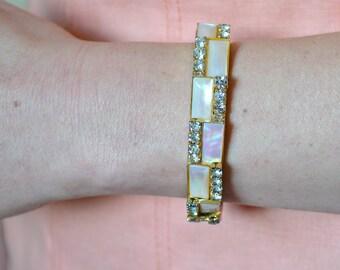 Shell Bracelet Rhinestone Peach Bracelet Rectangle Bracelet Mid Century Mod Bracelet Rhinestone and Shell Bracelet Peach Shell Bracelet