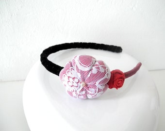 Headband red black with fabric flower and rosettes Satin and velvet ribbon covered - ready to ship