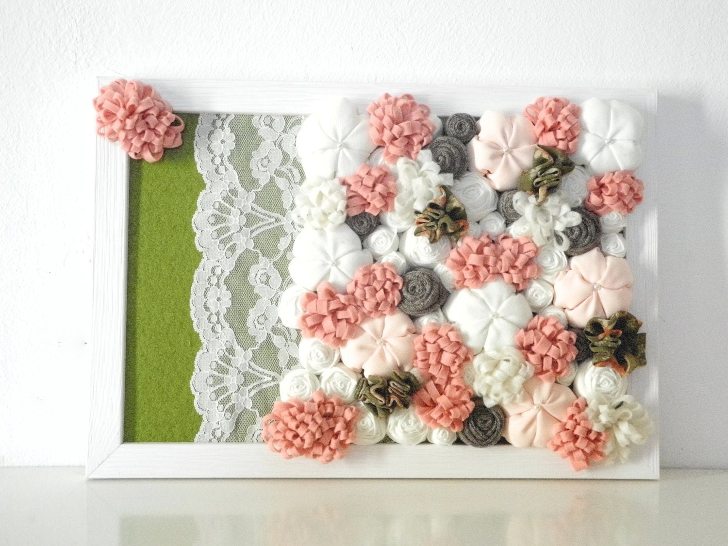 Framed fabric flowers home decor 3d design wall art pink white for Home decorations with flowers