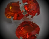 4470 12mm Genuine Swarovski Crystals Fire Opal Sew On Rhinestones Sterling Silver Plated Beads