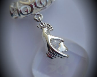 Genuine Silver Plated Swarovski Crystal Clear With Blossom Motif Pendant