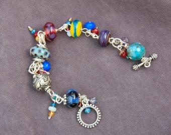 Eclectic colors Boro bead bracelet