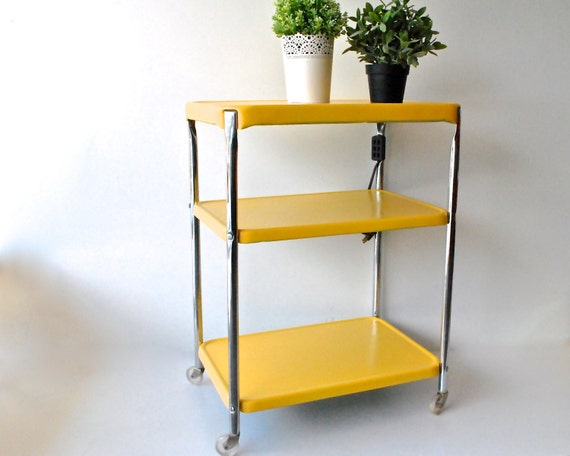 vintage rolling kitchen cart with outlet bright yellow and chrome