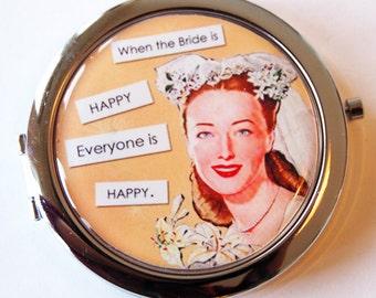 Happy bride, compact mirror, gift for bride, mirror, purse mirror, Wedding, peach, wedding shower gift, bridal shower gift (2049)