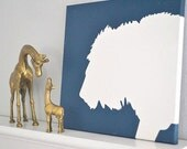 LION Painting on Canvas in Silhouette