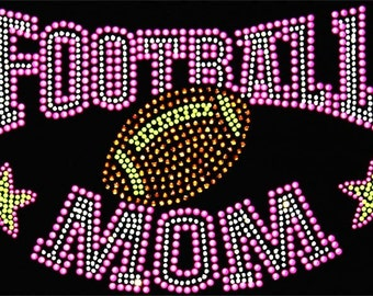 Hot Pink Football Mom with Stars Rhinestone Crystal Bling T-Shirt Sizes S-3XL