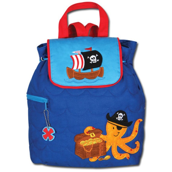 Boys pirate octopus backpack in blue and red with embroidery monogram