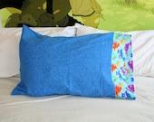 blue dinosaur flannel pillowcase