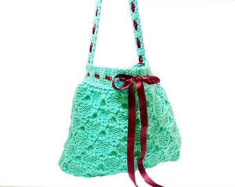 Handmade knit bag, Free Shipping, Knit green bag, Turquoise green blue handbag, Hand knit tote handbag, Useful handmade bag, With ribbon
