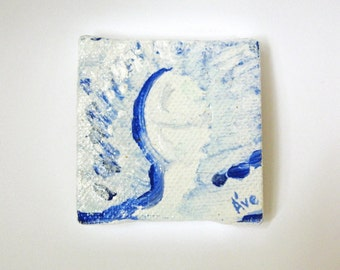 Light Being original acrylic painting on tiny 2x2 inch canvas