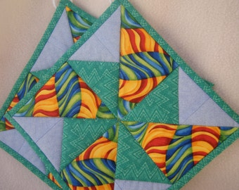 Blue & Aqua Quilted Potholders - Set of 2 - HANDMADE BY ME