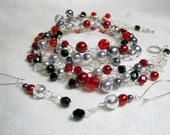 Crocheted Wire Beaded Necklace Set in Red, Black and Silver, handmade bead jewelry