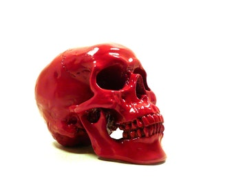 red skull head, day of the dead, skeleton head, goth, skulls, artsy home decor, skull figurine, hipster