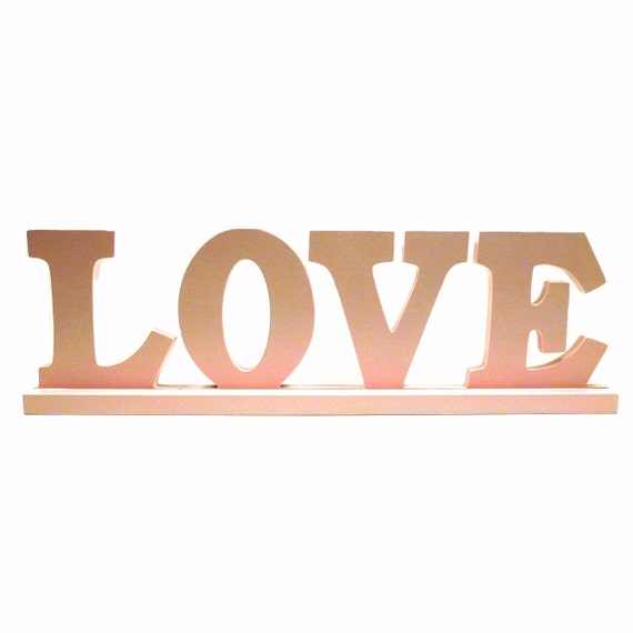 Love Upcycled Wood Word Sign Pastel Pink Nursery Decor By