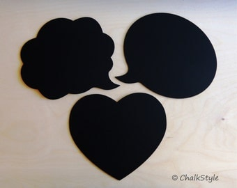 3 Large Chalkboard Speech Bubbles Wedding Photo Props Set -- You Choose the Shapes -- Cloud, Oval and Heart
