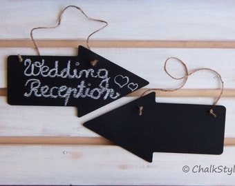 2 Large CHALKBOARD Arrow Signs Wedding Decor Reusable Chalk Boards Rustic Wedding Decor Photo Props On Sided Chalkboard