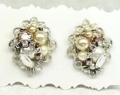 Champagne Bridal Earrings- Statement Studs- Champagne Bridal Studs- Champagne Cluster Earrings-Brass Boheme- Art Deco Earrings-Clip Earrings