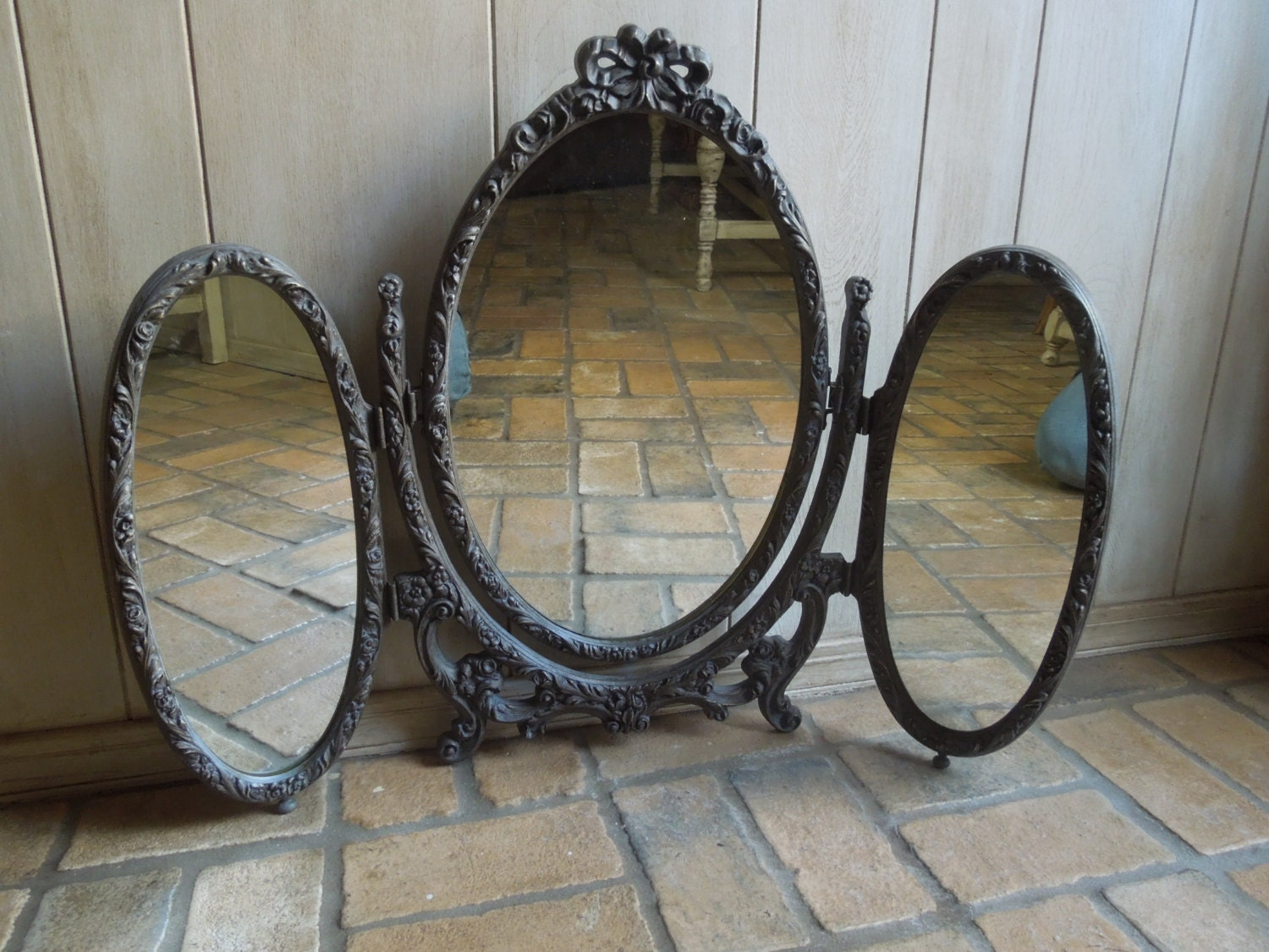 Ornate Syroco Tri Fold Mirror French Provincial By Frenchtwine
