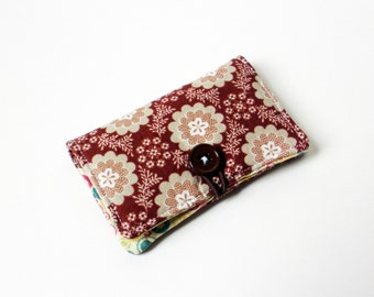 Burgundy Flower Fabric Business Card Holder, with Turquoise Fuchsia Dots - Credit Card Holder, Cloth Card Holder, Gift Card Holder